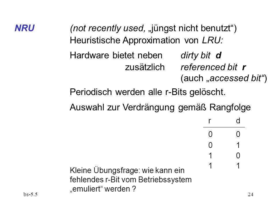 "NRU (not recently used, ""jüngst nicht benutzt )"
