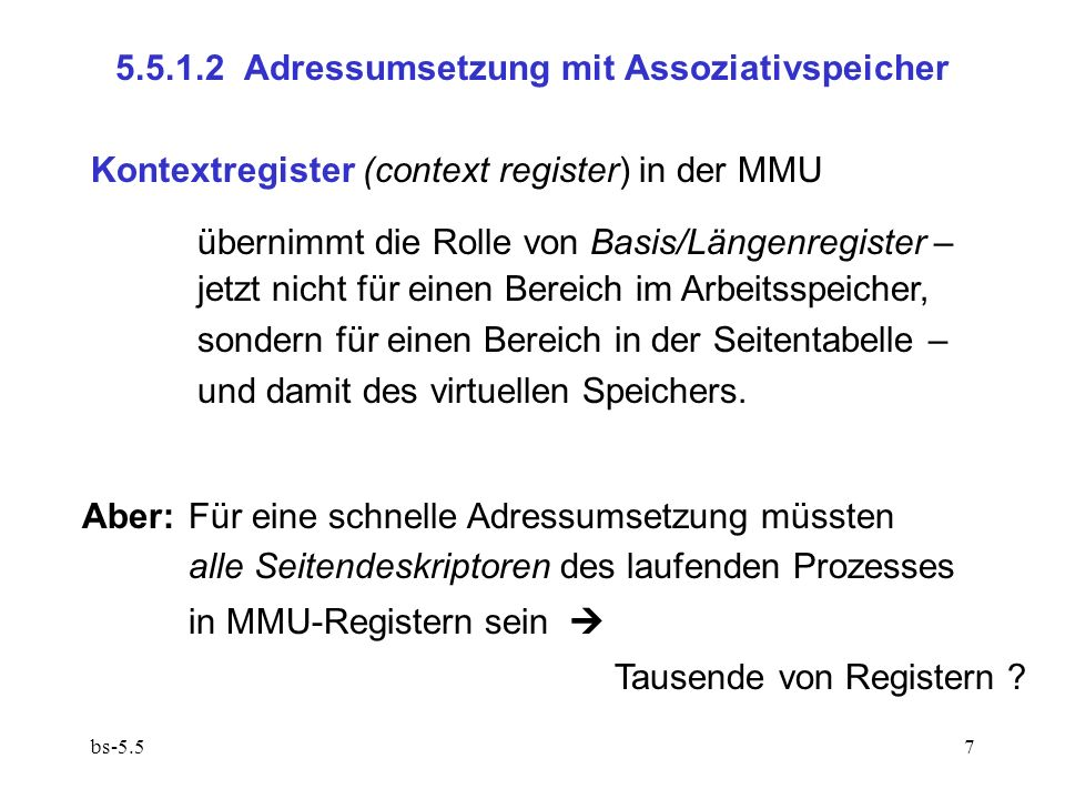 5.5.1.2 Adressumsetzung mit Assoziativspeicher