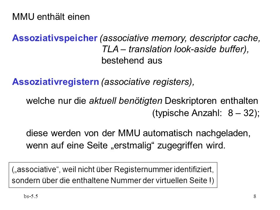 Assoziativspeicher (associative memory, descriptor cache,