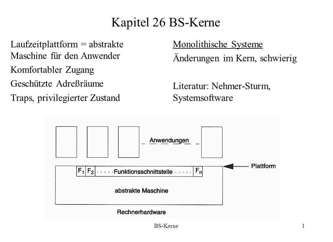 Kapitel 26 BS-Kerne Laufzeitplattform = abstrakte Maschine für den Anwender. Komfortabler Zugang. Geschützte Adreßräume.