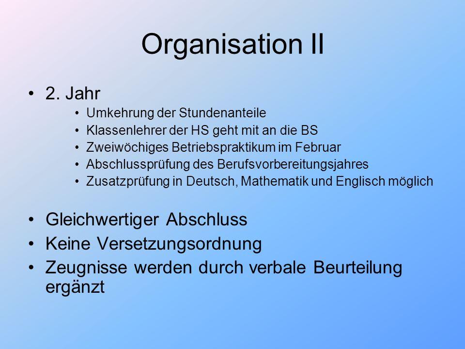 Organisation II 2. Jahr Gleichwertiger Abschluss