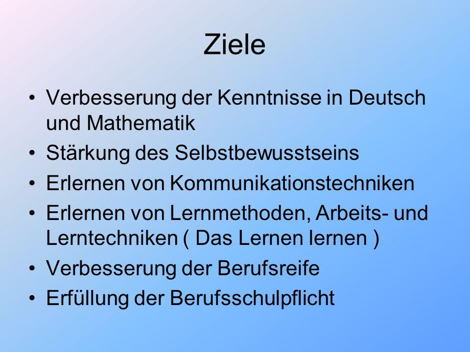 Ziele Verbesserung der Kenntnisse in Deutsch und Mathematik