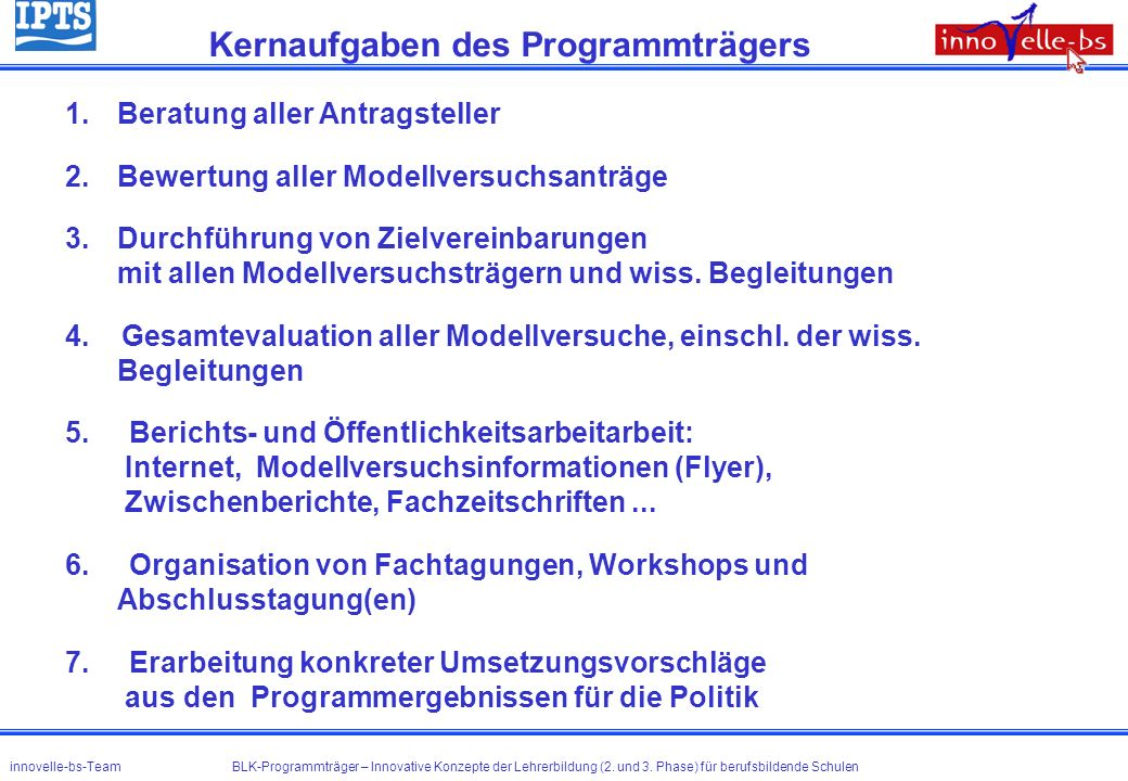 Kernaufgaben des Programmträgers