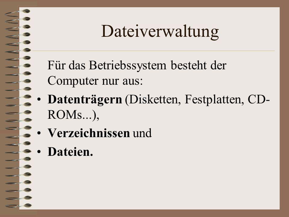 Dateiverwaltung Für das Betriebssystem besteht der Computer nur aus: