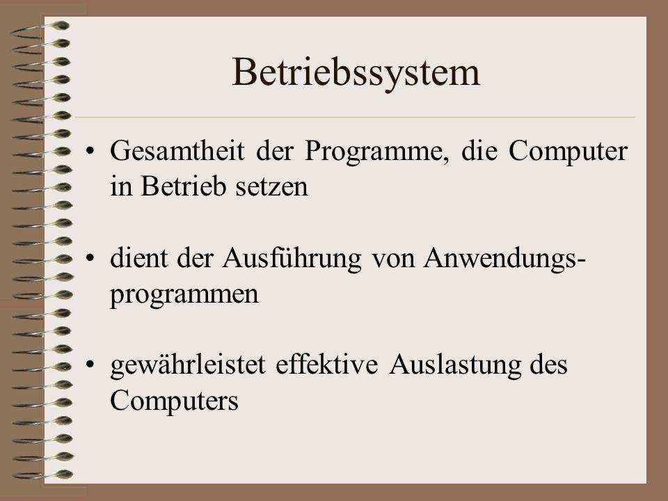 Betriebssystem Gesamtheit der Programme, die Computer in Betrieb setzen. dient der Ausführung von Anwendungs- programmen.