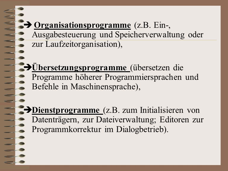 Organisationsprogramme (z. B