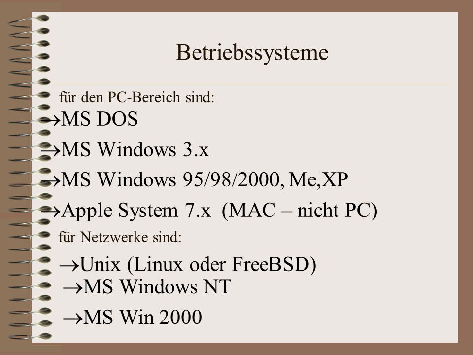Betriebssysteme MS DOS MS Windows 3.x MS Windows 95/98/2000, Me,XP