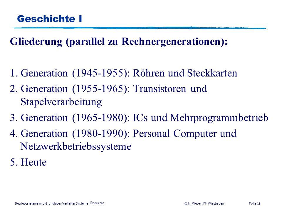 Gliederung (parallel zu Rechnergenerationen):