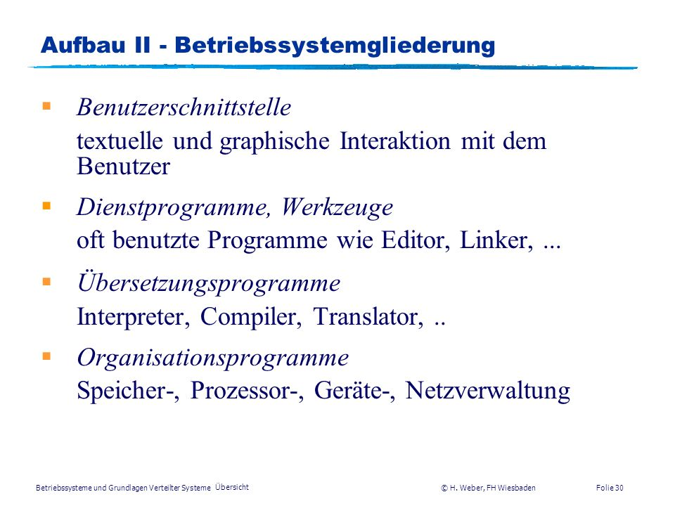 Aufbau II - Betriebssystemgliederung