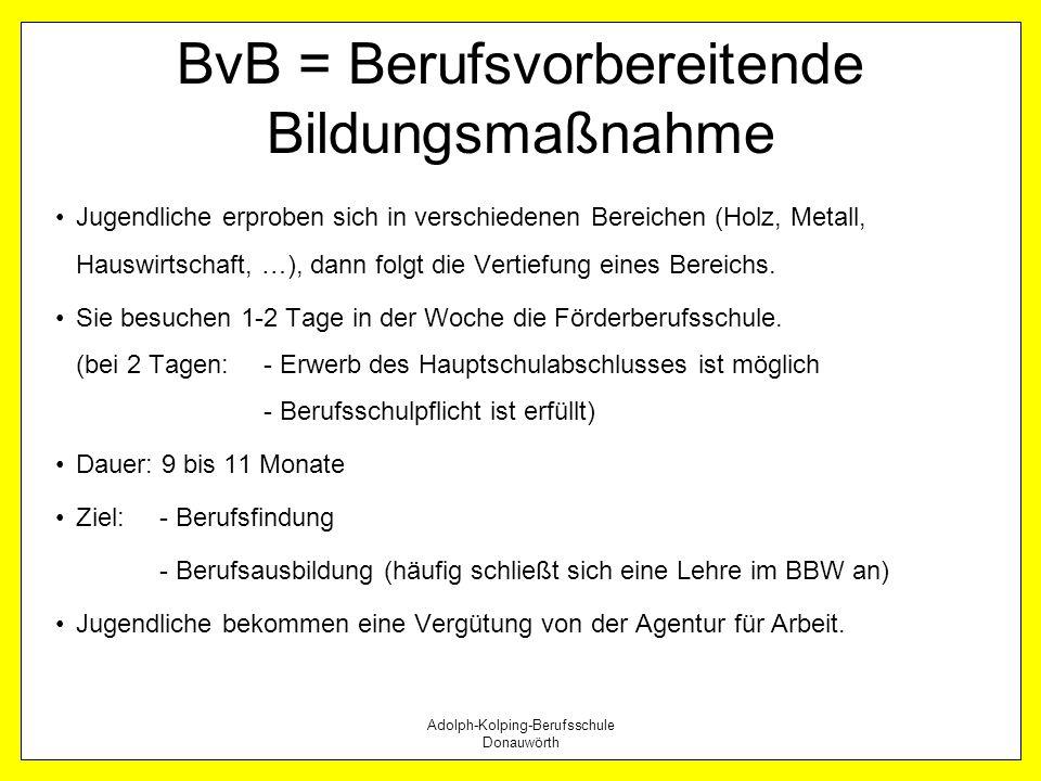 BvB = Berufsvorbereitende Bildungsmaßnahme