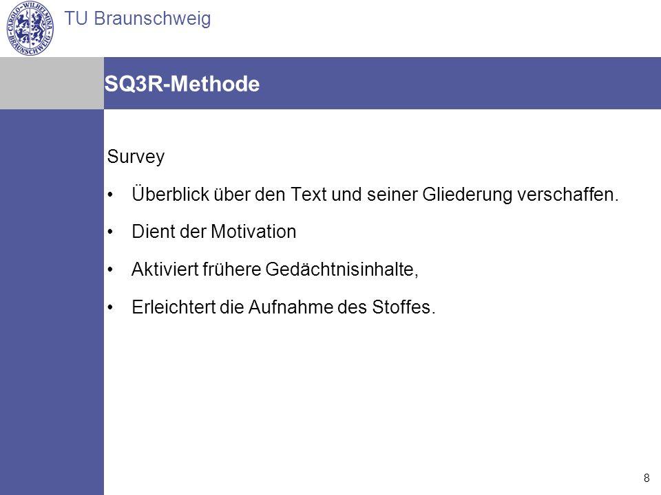SQ3R-Methode Survey. Überblick über den Text und seiner Gliederung verschaffen. Dient der Motivation.