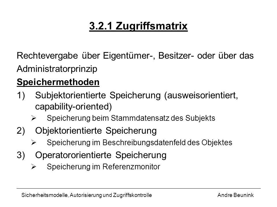 3.2.1 ZugriffsmatrixRechtevergabe über Eigentümer-, Besitzer- oder über das. Administratorprinzip. Speichermethoden.