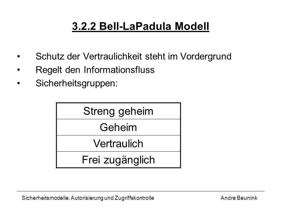 3.2.2 Bell-LaPadula Modell Streng geheim Geheim Vertraulich