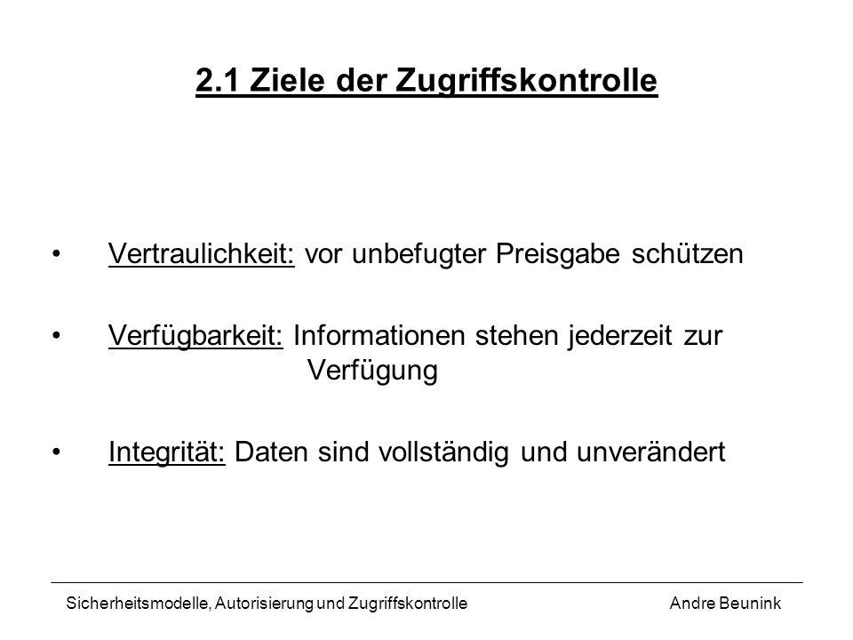 2.1 Ziele der Zugriffskontrolle