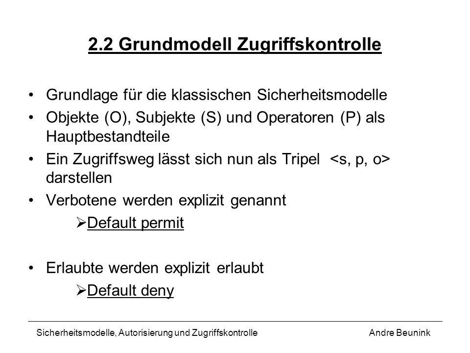 2.2 Grundmodell Zugriffskontrolle