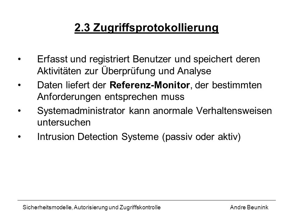 2.3 Zugriffsprotokollierung