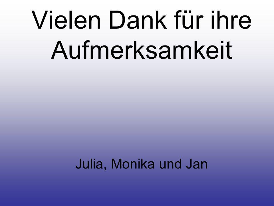 Vielen Dank für ihre Aufmerksamkeit Julia, Monika und Jan