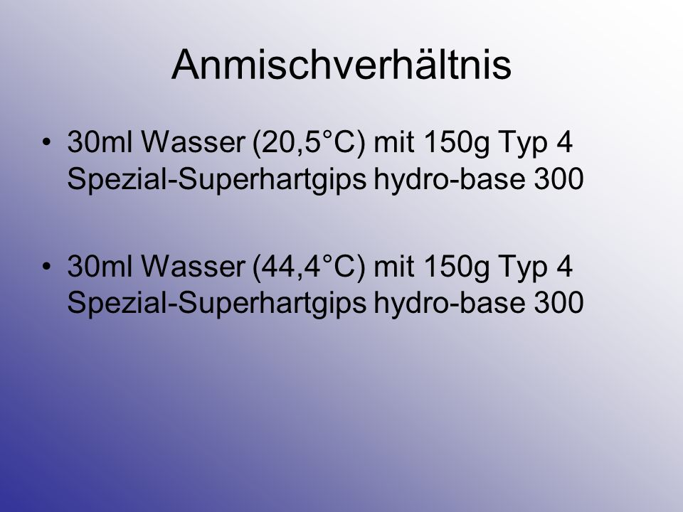 Anmischverhältnis 30ml Wasser (20,5°C) mit 150g Typ 4 Spezial-Superhartgips hydro-base 300.