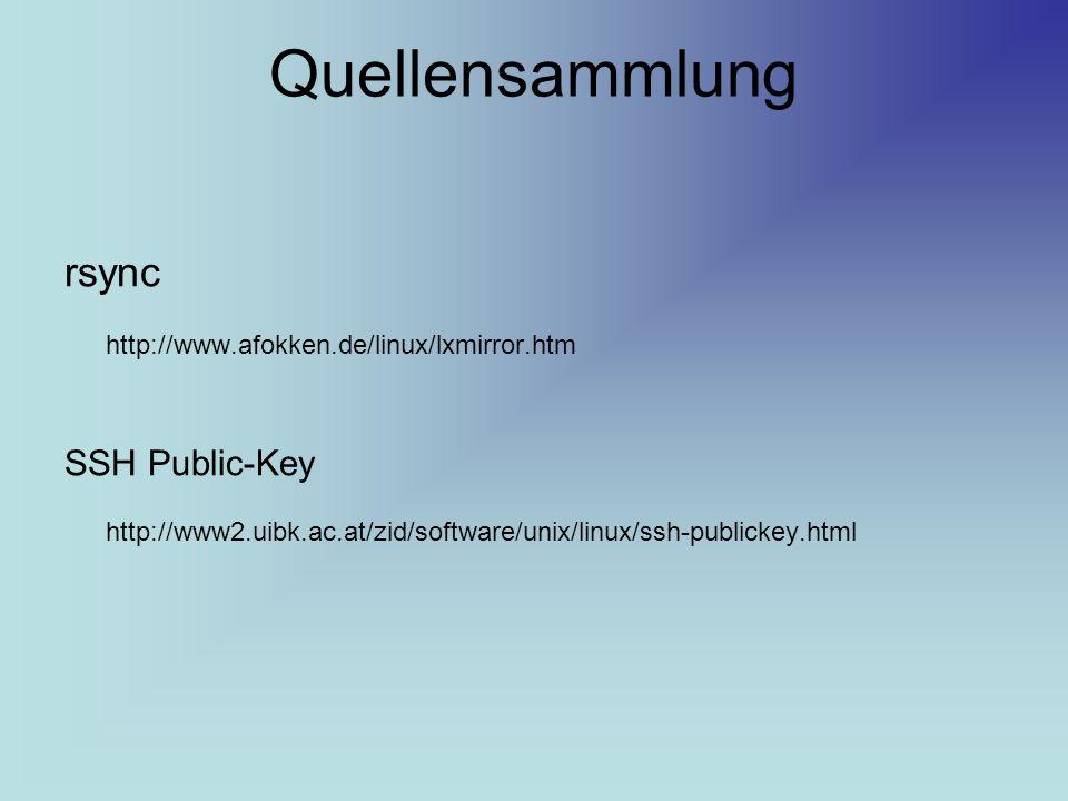 Quellensammlung rsync SSH Public-Key