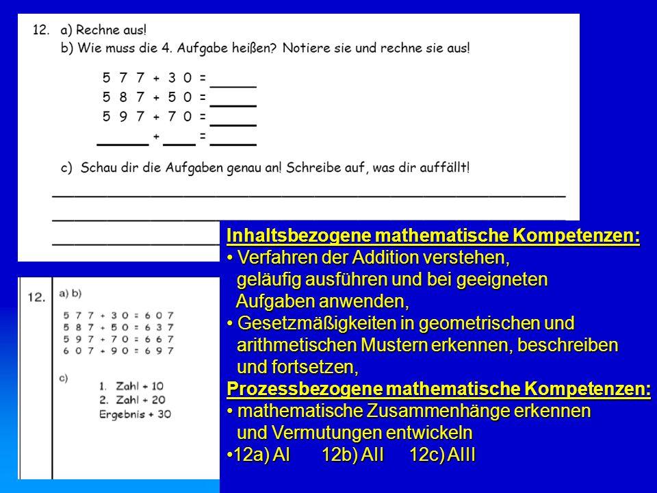 Inhaltsbezogene mathematische Kompetenzen: