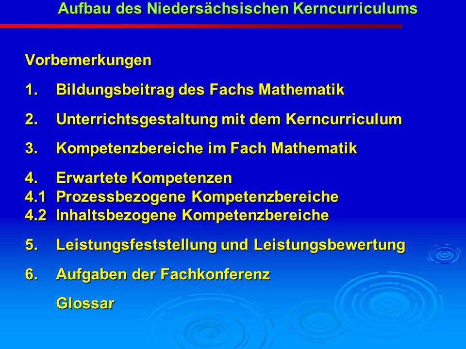 Aufbau des Niedersächsischen Kerncurriculums