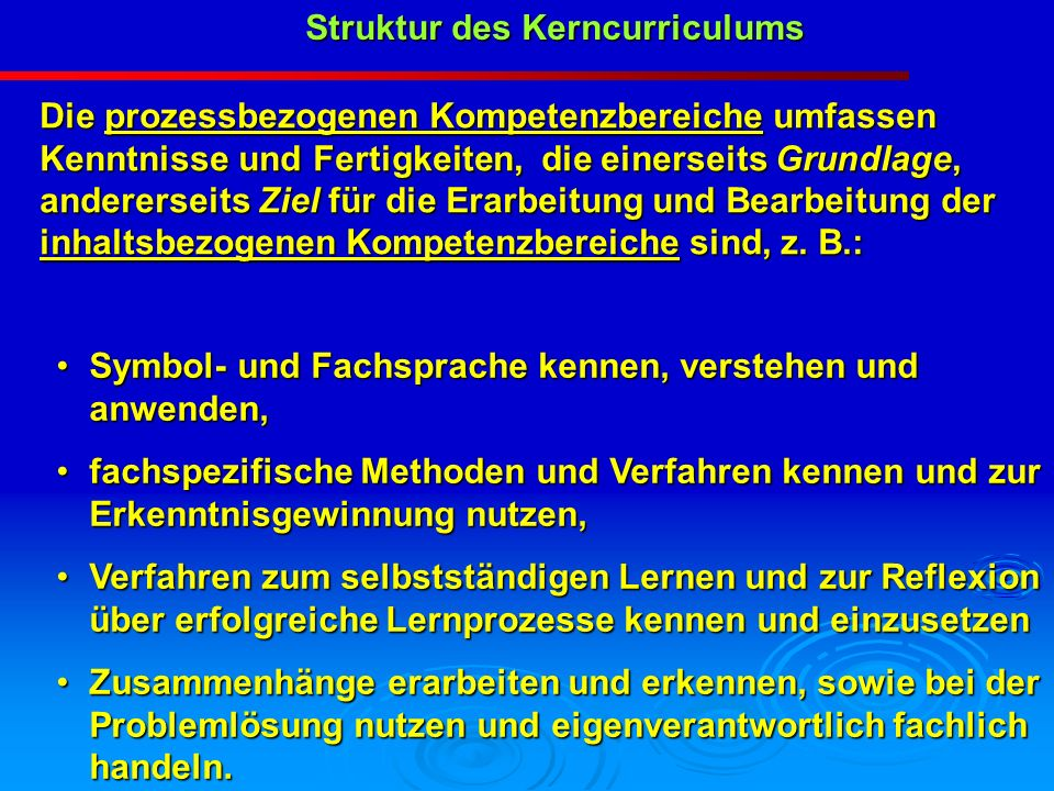 Struktur des Kerncurriculums