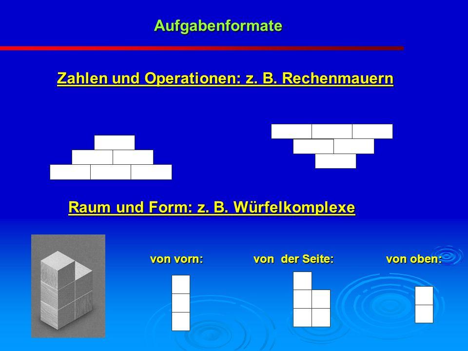 Zahlen und Operationen: z. B. Rechenmauern