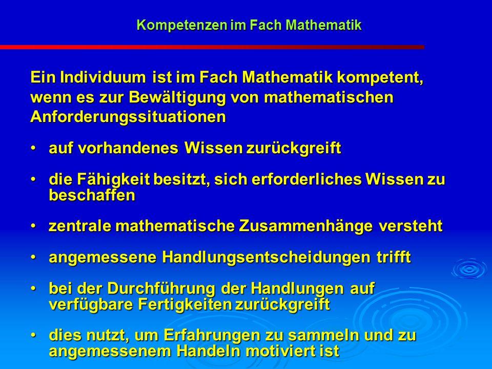 Kompetenzen im Fach Mathematik