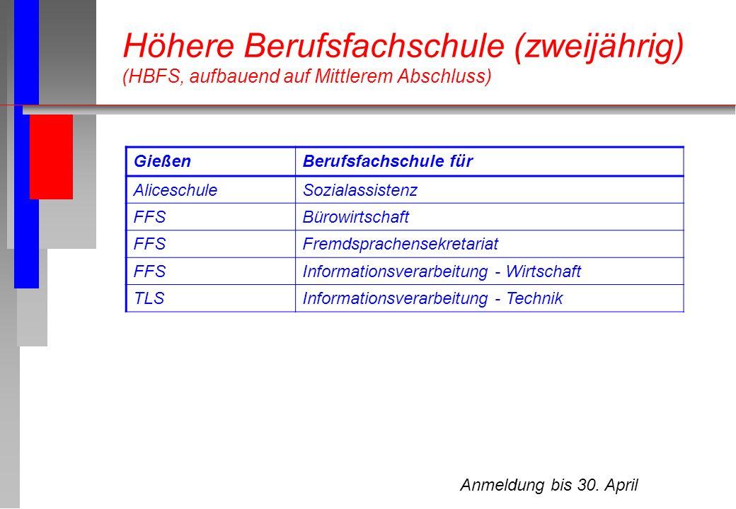 Höhere Berufsfachschule (zweijährig) (HBFS, aufbauend auf Mittlerem Abschluss)