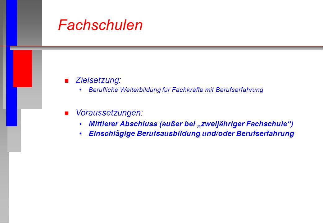 Fachschulen Zielsetzung: Voraussetzungen: