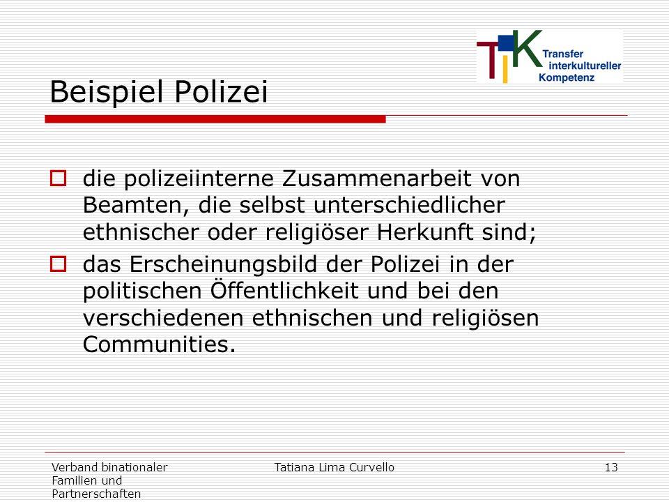 Beispiel Polizeidie polizeiinterne Zusammenarbeit von Beamten, die selbst unterschiedlicher ethnischer oder religiöser Herkunft sind;