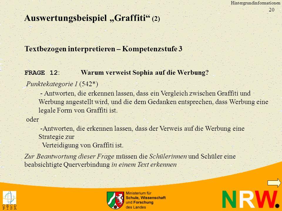 """Auswertungsbeispiel """"Graffiti (2)"""