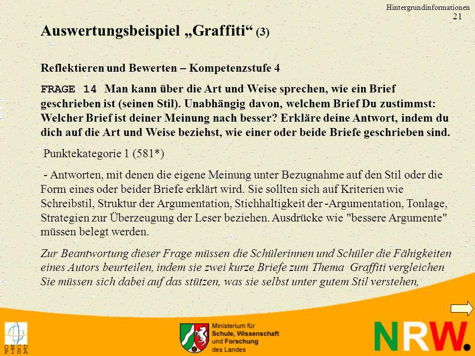 """Auswertungsbeispiel """"Graffiti (3)"""