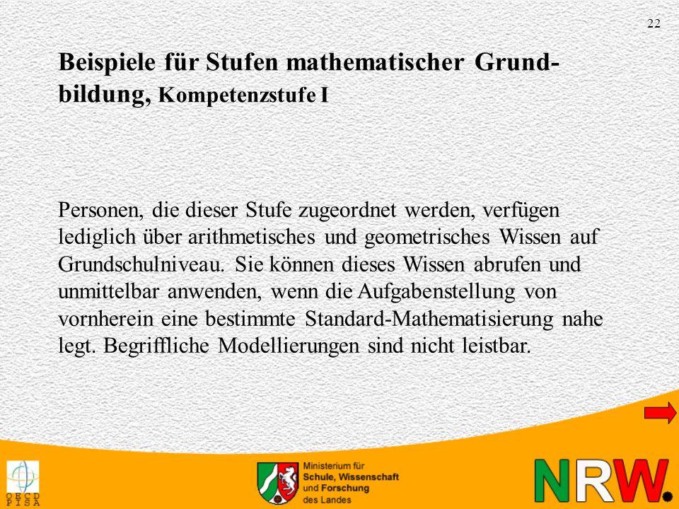 Beispiele für Stufen mathematischer Grund-bildung, Kompetenzstufe I
