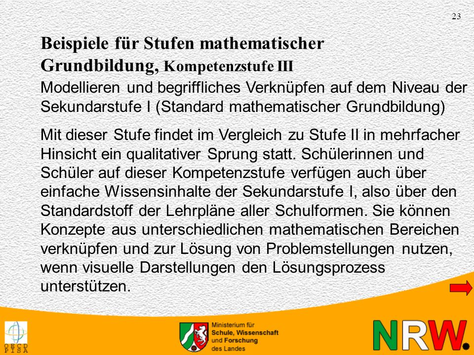 Beispiele für Stufen mathematischer Grundbildung, Kompetenzstufe III