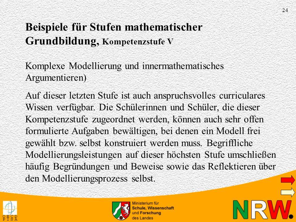 Beispiele für Stufen mathematischer Grundbildung, Kompetenzstufe V