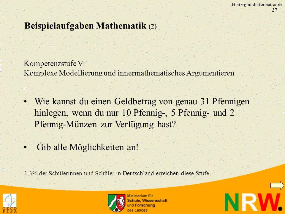 Beispielaufgaben Mathematik (2)