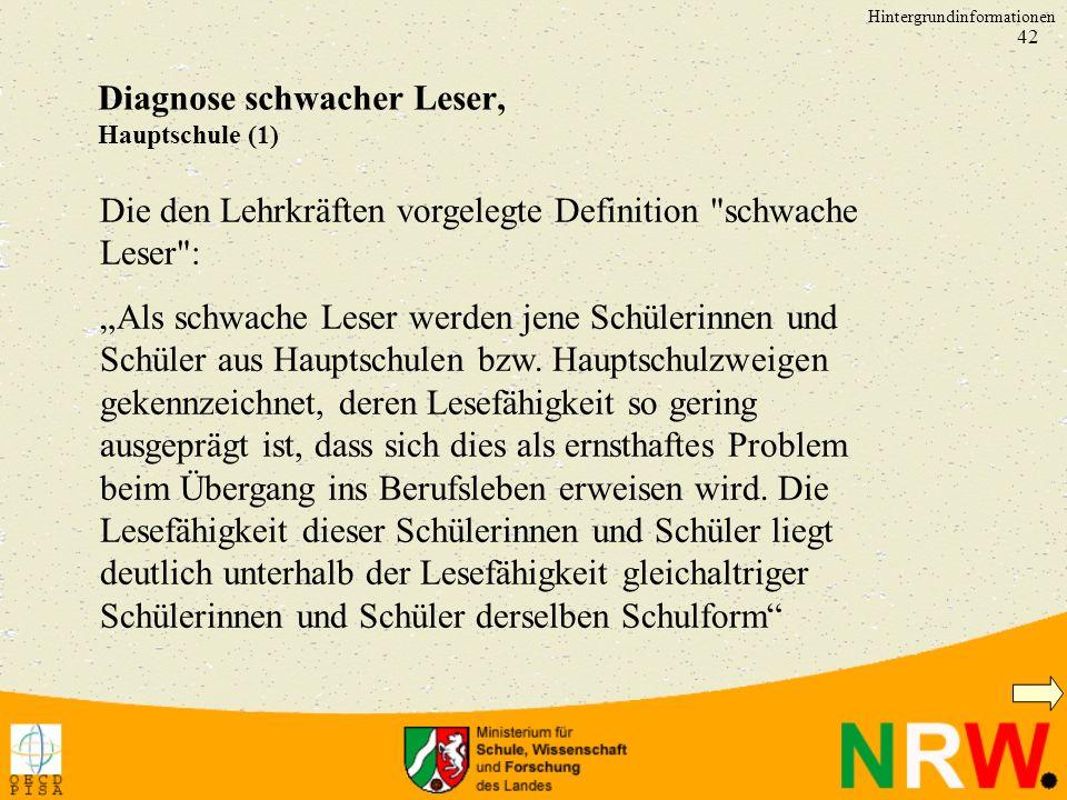 Diagnose schwacher Leser, Hauptschule (1)