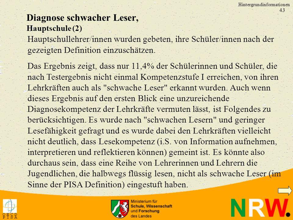 Diagnose schwacher Leser, Hauptschule (2)