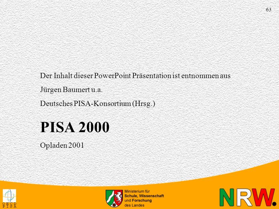 PISA 2000 Der Inhalt dieser PowerPoint Präsentation ist entnommen aus