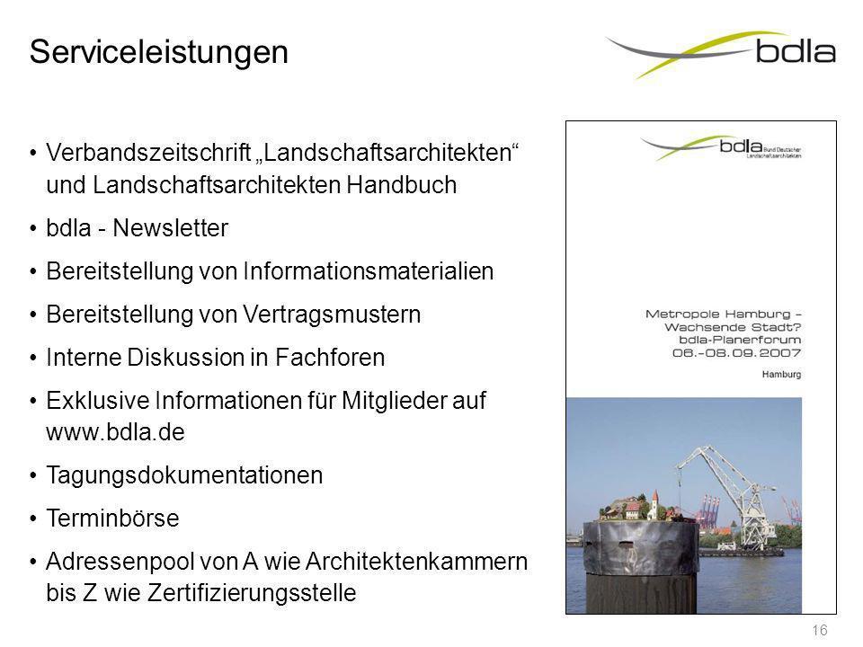 """ServiceleistungenVerbandszeitschrift """"Landschaftsarchitekten und Landschaftsarchitekten Handbuch. bdla - Newsletter."""