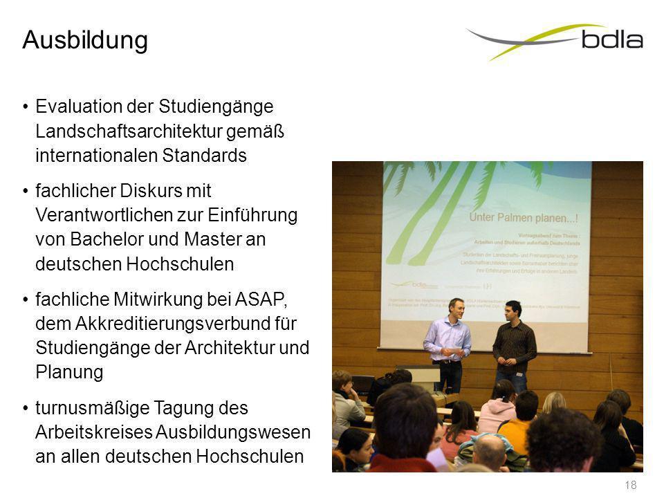 Ausbildung Evaluation der Studiengänge Landschaftsarchitektur gemäß internationalen Standards.