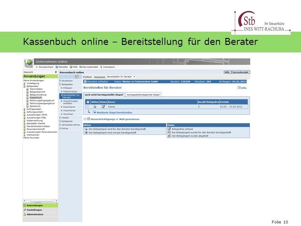Kassenbuch online – Bereitstellung für den Berater