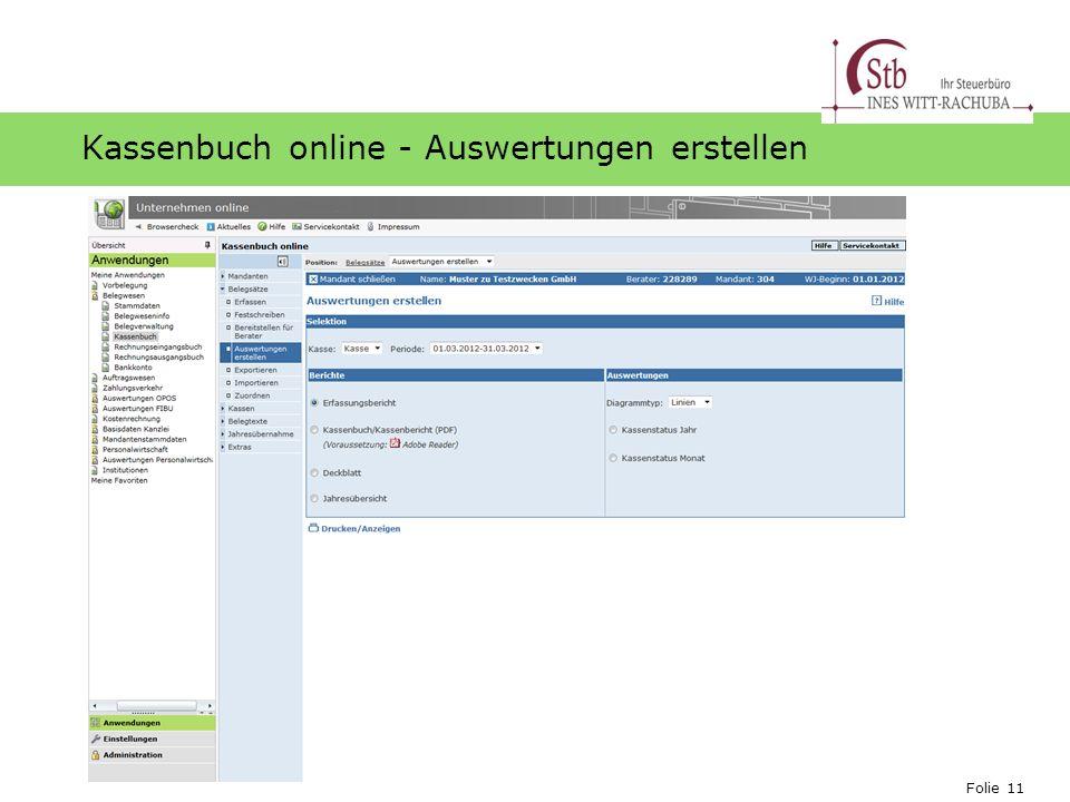 Kassenbuch online - Auswertungen erstellen