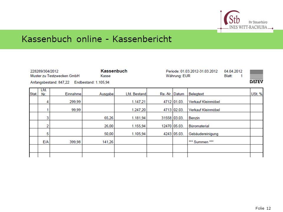 Kassenbuch online - Kassenbericht