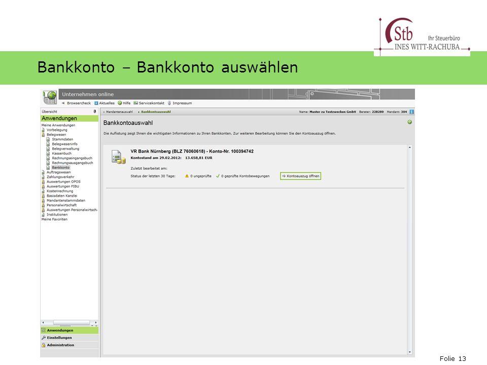 Bankkonto – Bankkonto auswählen