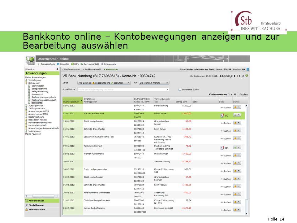 Bankkonto online – Kontobewegungen anzeigen und zur Bearbeitung auswählen