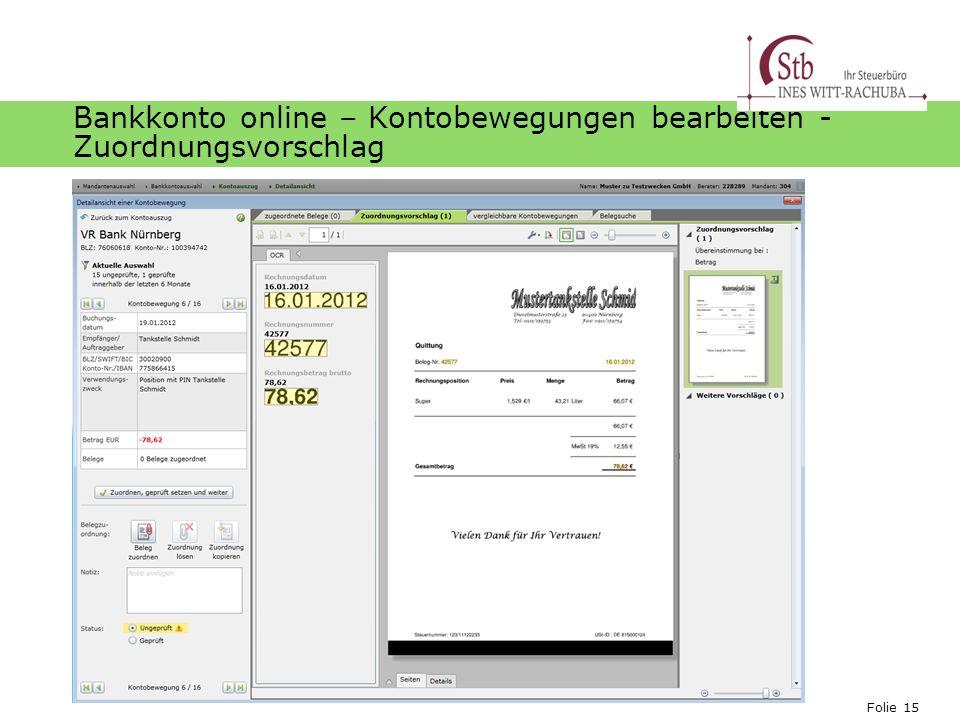 Bankkonto online – Kontobewegungen bearbeiten - Zuordnungsvorschlag