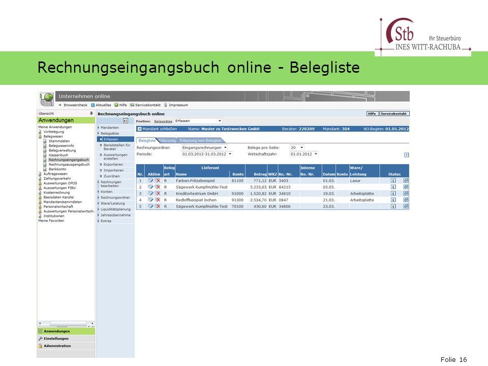 Rechnungseingangsbuch online - Belegliste