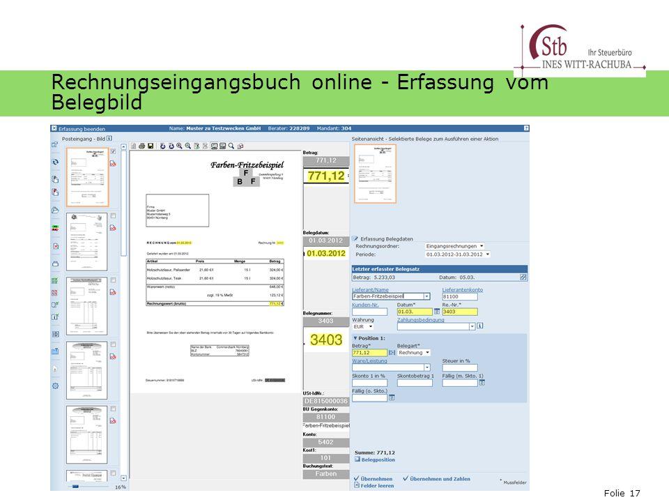 Rechnungseingangsbuch online - Erfassung vom Belegbild